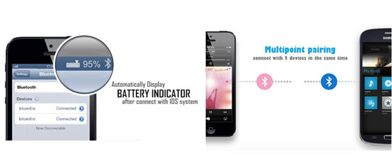 Multipoint pairing & Battery indication