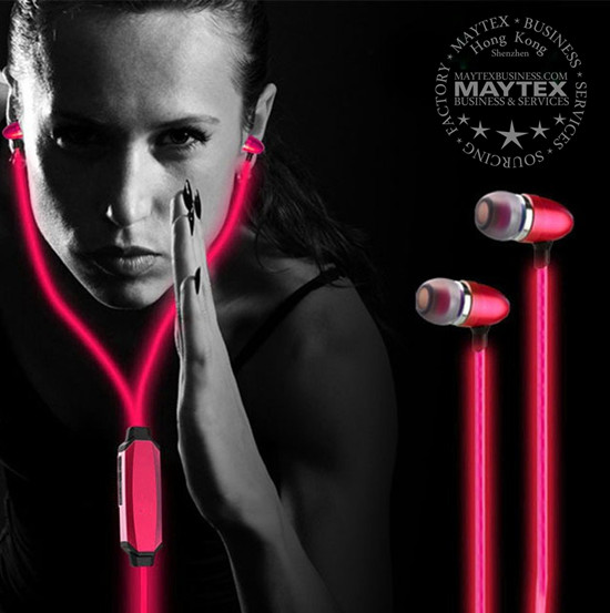 Led Flashing Lights In-Ear Headphones with Microphone