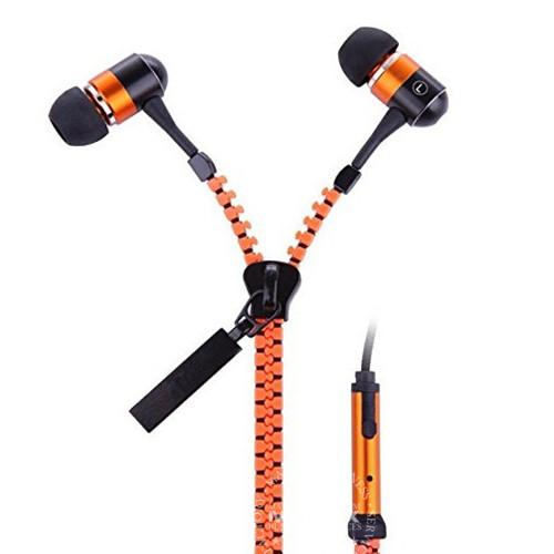 Metal Zipper Style Stereo  Earphones